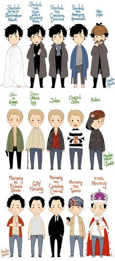 Awww.... the many faces of Sherlock, John and Moriarty. (sorry for the language)