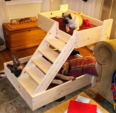 50 DIY Ideas for Wood Pallet Dog Beds: We all love our dogs as we love our family members. So, here we have some amazing pallet wood dog bed ideas to make your Dog Bunk Beds, Pallet Dog Beds, Bunk Beds With Stairs, Pet Beds, Dog Stairs For Bed, Doggie Beds, Puppy Beds, Dog Feeding Station, Palette Diy