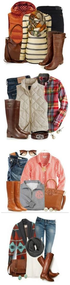 Cozy Fall Fashion | Crafting in the Rain Fall Fashion Ideas--puffy vest, brown boots, plaid and Aztec sweaters, jeans, scarf = my kind of style