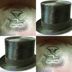 Vintage Top Hat by Young Bros, New York, includes box. Bids close Thurs, 10 Nov from 11am ET. http://bid.cannonsauctions.com/cgi-bin/mnlist.cgi?redbird80/835