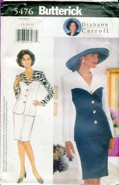 1990s Butterick 5476 Misses Jacket & Skirt Sewing Pattern Diahann Carroll V neck Long Sleeves Fitted Skirt Size 14 16 18 UNCUT by PengyPatterns on Etsy