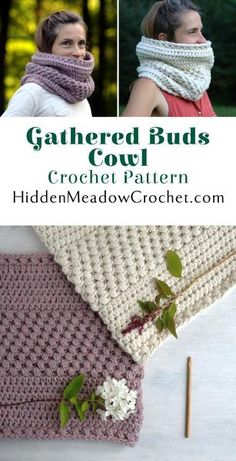 Crochet Pattern - Gathered Buds Cowl at HiddenMeadowCrochet.com
