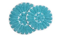 Chesapeake Merchandising Bursting Flower 2-Piece Bath Rug Set, White/Aqua