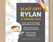 Blast Off Invitation with Caricature on the bottom left