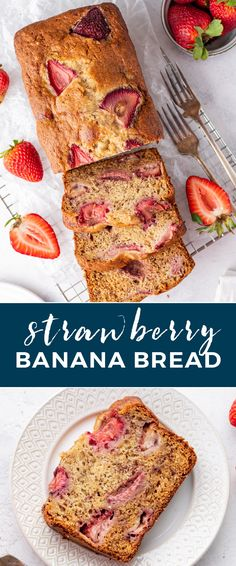 Combine two of your favorite fruits to make a wholesome baked treat with this Strawberry Banana Bread recipe. It's easy to prepare this moist and tasty bread that you can enjoy for a snack or quick breakfast! Best Dessert Recipe Ever, Best Easy Dessert Recipes, Gluten Free Recipes For Dinner, Sweet Recipes, Easy Recipes, Quiche Recipes, Banana Bread Recipes, Coffee Recipes, Healthy Breakfast On The Go