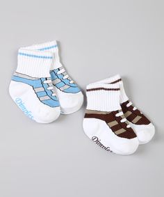 Look at this #zulilyfind! Chocolate & Light Blue Sneaker Sock Set by Dimples #zulilyfinds. $5.99, LOTS OF OTHER CUTE BOY SOCKS
