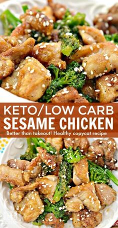 This Keto Sesame Chicken is a delicious and guilt-free version of a Chinese takeout favorite! This Keto Sesame Chicken is a delicious and guilt-free version of a Chinese takeout favorite! Low Carb Chicken Recipes, Keto Chicken, Low Carb Recipes, Diet Recipes, Healthy Recipes, Healthy Meals, Dessert Recipes, Sesame Chicken And Broccoli Recipe, Chicken Brocoli