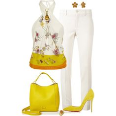 A fashion look from April 2017 featuring Gucci blouses, Gucci pants and Christian Louboutin pumps. Browse and shop related looks.