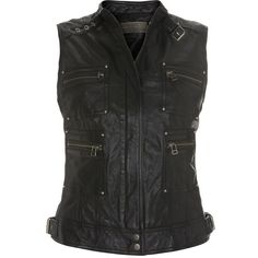 Mint Velvet Black zip leather waistcoat ($110) ❤ liked on Polyvore featuring outerwear, vests, jackets, tops, vest, jackets/vests, black sleeveless vest, leather vest, sleeveless vest and leather waistcoat