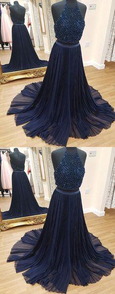 Dark Blue Prom Dress,Halter Prom Dress,Two Piece Prom Dress,Beaded Prom Dress,Long Evening Dress,2018 Formal Dress