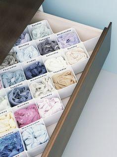 ideas sock drawer organization diy storage ideas for 2019 Underwear Organization, Sock Organization, Home Organisation, Underwear Storage, Organizing Tips, Diy Drawer Organizer, Drawer Dividers, Drawer Organisers, Diy Drawers