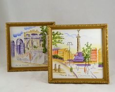 Okamoto Tile Painting of Italy  2 Framed  by ChicMouseVintage