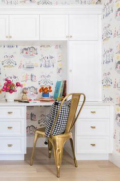 built-in desk nook with cute wallpaper