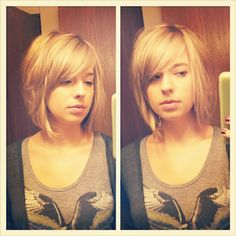 long bob hair cut LOVE this!  I want my hair cut just like this!  And died a dark red