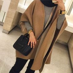 hijab cover up- Latest outerwear for women www.justtrendygir… hijab cover up- Latest outerwear for women www. Modern Hijab Fashion, Street Hijab Fashion, Muslim Women Fashion, Islamic Fashion, Modest Fashion, Mode Outfits, Fashion Outfits, Hijab Fashionista, Outfit Look