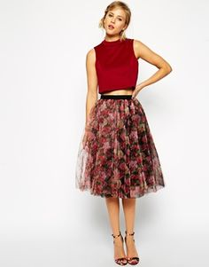 ASOS Premium Tulle Skirt in Floral Print