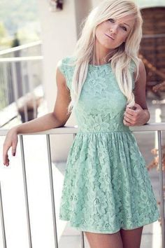 Pair this gorgeous mint dress with gold sandals for a casual fun look! Mint Dress Lace, Mint Green Dress, Fashion Beauty, Womens Fashion, Fashion News, Color Fashion, Blue Fashion, Dress Fashion, Fashion Clothes