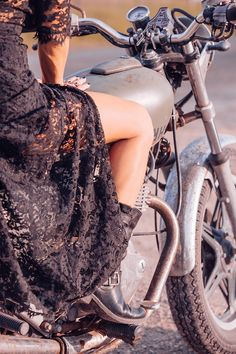 ☯☮ॐ American Hippie Bohemian Style ~ Boho bad girl . . black lace, boots and motorcycle