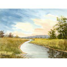 _watercolor_landscape_painting_original_river_creek_stream_sunset_1a162032.jpg (500×500)