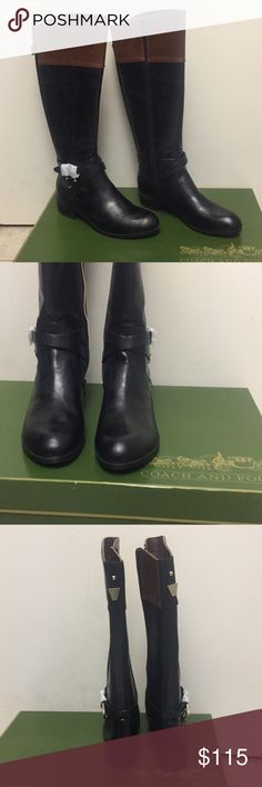 """Coach Trina Boots NWT Coach and Four  2 Tone Trina Boots. Inside zipper.   1.5"""" heel.   Shaft is 16"""" high. These look like leather but there is no indication on the boot or the box. NWT. NO TRADES Coach Shoes"""