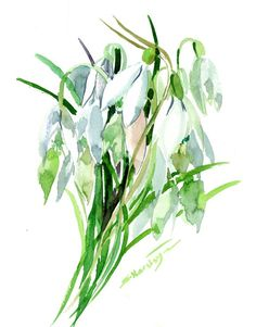 Buy Snowdrops Flowers, Watercolor by Suren Nersisyan on Artfinder. Discover thousands of other original paintings, prints, sculptures and photography from independent artists. Watercolor Flowers, Watercolour, Paper Tags, Lovers Art, Impressionist, Buy Art, Plant Leaves, Original Paintings, Sculptures