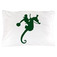 Dark Green Seahorse Rodeo Pillow Case on CafePress.com
