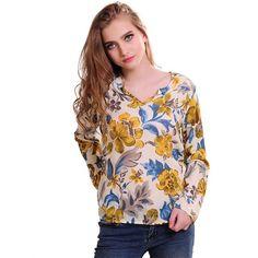 new Arrive Women Blouse Flowers Loose Type Chiffon Blouses Shirt Long Sleeve V-neck Lady Shirts