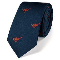 Classic slim navy pheasant country tie
