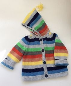 This is a brightly stripy stocking stitch jacket. S full of fun and perfect for when the days start to get a little chilly. So easy to knit. Baby Knitting Patterns, Christmas Knitting Patterns, Knitting For Kids, Easy Knitting, Knitting Projects, Toddler Cardigan, Baby Cardigan, Baby Scarf, Dress Gloves