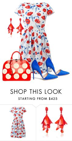 """""""Red, White & Slay..."""" by elleylove ❤ liked on Polyvore featuring Oscar de la Renta and Gianvito Rossi"""