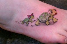 3D cartoon turtle tattoo