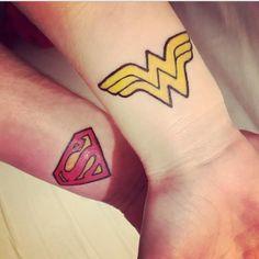 Superman & Wonder Woman via agatokay woman woman and hers comics Couple Tattoos Unique Meaningful, Couple Tattoos Love, Unique Tattoos, Superman Tattoos, Partner Tattoos, Harley Quinn Tattoo, Simple Cross Tattoo, Him And Her Tattoos, Watercolour Tattoos