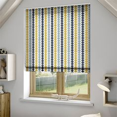 Hounds Tooth Beach Blue Roman Blind