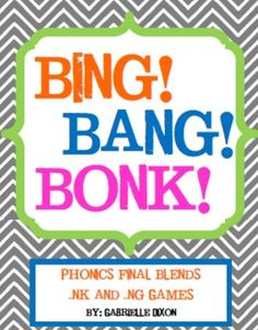 This 25 pages packet includes two games that students will love to play to practice final blends -nk and -ng. Great for reading centers or small gr. Spelling Activities, Phonics Activities, Reading Activities, Teaching Reading, Class Activities, Reading Groups, Reading Strategies, Reading Centers, Spelling Words