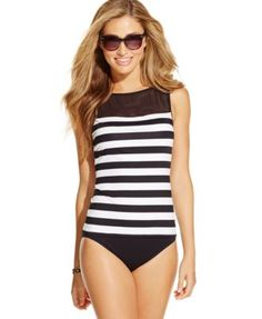 Lauren Ralph Lauren Mesh Striped Tankini Top & Hipster Swim Brief Bottom | macys.com
