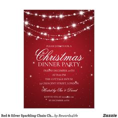 red silver sparkling chain christmas party invitation