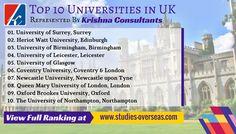 Top 10 Universities in UK represented by Krishna Consultants.