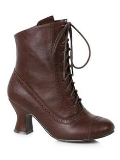 Woman's 2.5 inch Heeled Brown Victorian Bootie - PartyBell.com Lace Up Ankle Boots, Mid Calf Boots, Ankle Booties, Shoe Boots, Halloween Costume Shoes, Bettie Page Shoes, Boots Code, Victorian Boots, Brown Booties