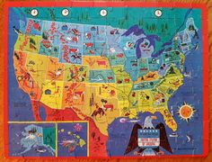 Vintage USA Puzzle - Golden 100 Piece Picture Map Puzzle of the United States of…