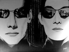 "THE MATRIX (1999) Graphite pencil on wood 45 x 60 cm / 18""x24"" in. #movie #artwork #drawing #pencil #wood #fantasticmovie #scifi #matrix #neo #keanureeves #trinity #carrieannemoss #actionmovie"