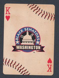 Black Senators Washington Negro League Baseball 2012 playing card single  1 card Negro League Baseball, King Of Hearts, Washington, Playing Cards, Kids Rugs, Sports, Black, Hs Sports, Kid Friendly Rugs