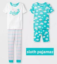 Mix and match with this super cute four piece sloth pajama set for girls. Sloth Pajamas, Girls Pajamas, Pajamas Women, Baby Sloth, Cute Sloth, Sloth Sleeping, Pajama Set, Pajama Pants, Gifted Kids
