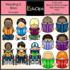 Reading 2  Boys  Clip Art Bundle by EduClips on Etsy, $4.00