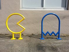 Pac-Man Bike Racks for the Coin Jam Arcade in Salem, Oregon