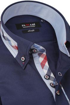 F3 Navy Shirt | Farrabi Slim Fit | Exclusive Luxury Shirts Mens High Collar Shirts, Camisa Slim, Men Closet, Fashion Marketing, Jeddah, Men Design, Gangsters, Kurta Designs, Office Fashion