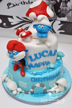 Get Smurfed with these Smurf Party ideas Cupcakes, Cupcake Cakes, Dad Cake, Character Cakes, Novelty Cakes, Cakes For Boys, Cake Toppings, Creative Cakes, Cake Creations