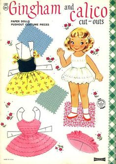 1960's Gingham and Calico Cut Outs Paper Dolls Pushout Saalfield