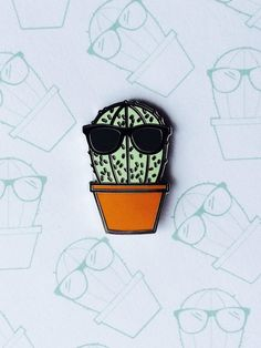 Cool Guy CactusCloisonné Enamel Pin by PRICKPINS on Etsy