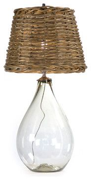 Panier French Cottage Large Glass Rustic Basket Shade Table Lamp - S - lamp shades - Kathy Kuo Home