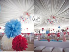 Ceiling Decors and Truffula tree inspired centerpieces for a Dr. Seuss Theme Birthday Party    actscreatives@gmail.com (Manila)